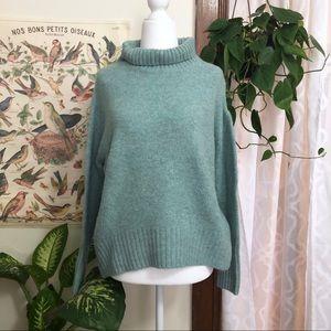 Cynthia Rowley Teal Blue Turtleneck Sweater